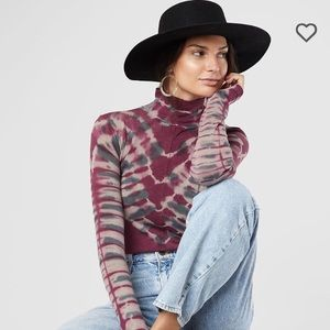 We The FREE PEOPLE Psychedelic Turtleneck Top NWT